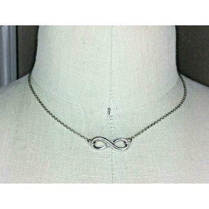 """Avon Silver Tone Infiniti Symbol Necklace 17"""""""